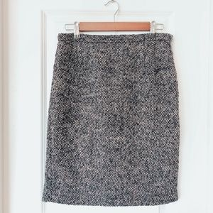 MICHAEL KORS Black + White Tweed Pencil Skirt